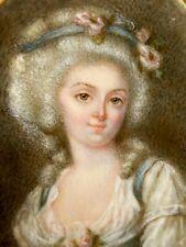 Portrait Jeune Femme & Miniature & Peinture & Fin du XVIII -ème Siècle & France