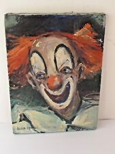 """Vintage  """" Bozo the Clown"""" Oil Painting by Joshua Meader c.1950"""