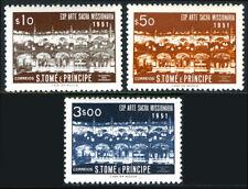 St Thomas & Prince Islands 363-365, MNH. Exhib. of Sacred Missionary Art, 1953