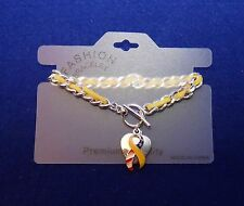 Remember Our Troops Bracelet - Heart with Ribbon - Silvertone and Yellow Leather