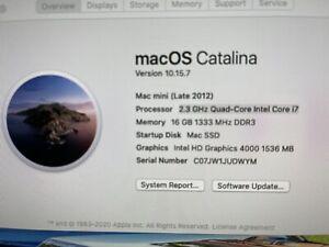 Mac Mini Late 2012 2.3GHz Quad Core i7/ 16GB RAM/ 480GB SSD Excellent Condition!