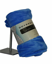 Blue Odyssey Living Plush Soft Bed Sofa Throw Rug Chair Couch Travel Cot Blanket