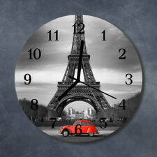 Glass Wall Clock Kitchen Clocks 30 cm round silent Eiffel Tower Car Red