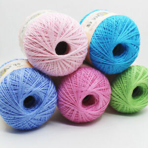Mercerized Cotton Cord Thread Yarn Embroidery Crochet Knitting Lace Threads