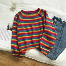 Women Rainbow Striped Sweater Pullover Jumper Top Knitted Casual Harajuku