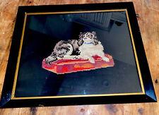 Antique Wood Framed King Charles Spaniel Dog On Pillow Needlepoint Tapestry 18�