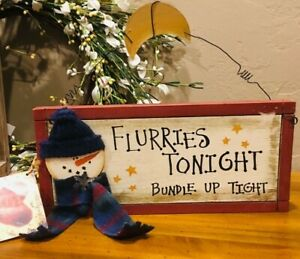 Christmas wood sign Primitive Farmhouse holiday home snowman wall decoration