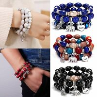 3pc/set Fashion Couple White Bead Bracelet Women Multilayer Bangle Wing Elephant
