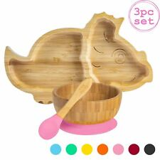 Children's Bamboo Dinosaur Plate, Bowl, Spoon & Suction Cups Eco-friendly Pink