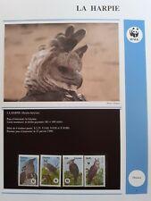WWF Lot de feuilles 4 FDC + série OISEAU HARPIE Guyana 1990
