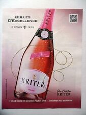 PUBLICITE-ADVERTISING :  KRITER Rosé  2016 Vin Eclat Carmin,Alcool