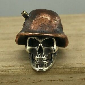 World War II Nazi Skull Bead Vintage Paracord Lanyard Knife Bead Pendant EDC DIY