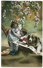 CHIEN . SAINT-BERNARD. DOG.  ENFANTS. CHILDREN.