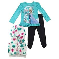 Disney Frozen Elsa Girl 3Pc Winter Fleece Vest Top L/S Shirt Pants Outfit/Set 3T