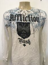 Affliction Men's Cotton long sleeve thermal white/black/blue georges st pierre L