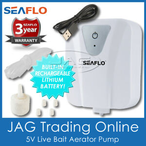 SEAFLO RECHARGEABLE LIVE BAIT AERATOR AIR PUMP - Fishing Bank Tank Oxygenator