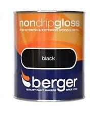 BERGER No gotea BRILLO PARA INTERIOR/EXTERIOR - Madera / Metal negro pintura