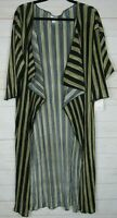 Lularoe Women's Shirley Black & Gold Striped Kimono Size M NWT