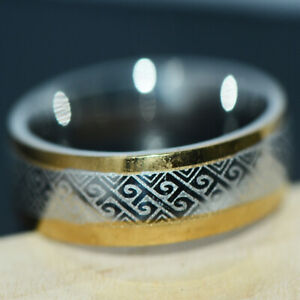 Mens Womens Band Ring Stainless Steel Rings Hip Hop Rings Jewelry Size 9