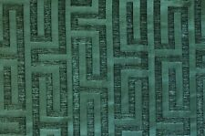 "10 YARDS - - Upholstery Chenille Geometric Green Heavy Duty Washable 58"" Wide"