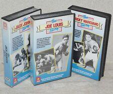 3 VHS tapes: The Jack Johnson / Joe Louis /  Rocky Marciano Story 1988 Originals