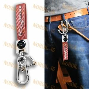 Pink Carbon Leather Gift Keychain Lanyard Quick Release Key chain for Jaguar X1