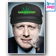 Boris Johnson Smoking Spliff Weed Ganja Cap Banksy Funny Poster Print A3 A4 Size