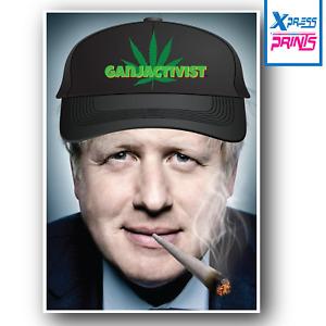 Boris Johnson Smoking Spliff Weed Ganja Cap Funny Poster Print A3 A4 Size