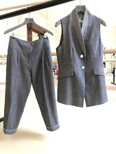 Karen Millen Harem Style Cropped Trousers And Waistcoat Grey Suit Size 10