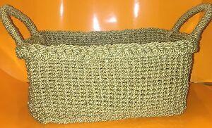 Bath Body Works Olive Green Soft Side Rope Straw Basket NWOT