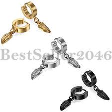 3 Pairs Men Women Stainless Steel Feather Drop Dangle Hoop Huggie Stud Earrings