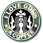 """I Love Guns And Coffee Camo Fits Everywhere Funny Vinyl Sticker Decal 3.7"""""""