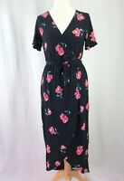 Primark Black & Pink Floral Mock Wrap Dress With Tie Belt UK Size 12