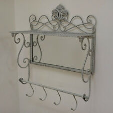 GANCI Appendiabiti in metallo shabby chic stile con specchio e archiviazione Mensola Porta asciugamani 4 ganci