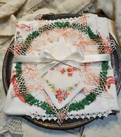 Flowers and Bows Vintage Linens - 8 Piece Cutting/ Crafting Bundle