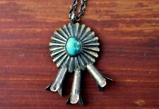 1940's Old Pawn Navajo Sterling Silver & Brass & Turquoise Stone Necklace