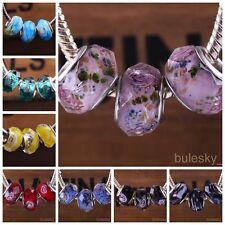 10pcs Glass Faceted Rondelle Loose Lampwork Beads Fit European Charm Bracelet