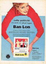 PUBLICITE ADVERTISING  1956   BAN-LON  sous vetements pret à porter