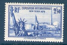 TIMBRE N° 458 NEUF ** SANS CHARNIERE GOMME D'ORIGINE - EXPO NEW YORK 1940