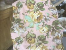 Vintage bark or cuddle cloth curtain pinks greens golds white romantic garden