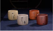 chinese handmade Yixing ZiSha Clay tea cup set of 4pcs Kungfu Cups 80cc