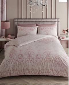King Duvet Bed Set Antoinette Pink Floral Damask NEW (J)