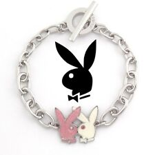 Playboy Bracelet Kissing Bunny Charm Logo Pink Silver Platinum Plated Toggle NWT