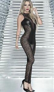 Hot Sexy Catsuit Metallic Latex Plunge Black Lace Sleeveless Nightwear Clubwear