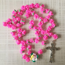 Mothers Day - Catholic ROSARY-PINK Rose Flower soft Ceramic bead with a Crucifix