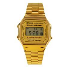 New Casio Digital Alarm Golden Stainless Steel Unisex Bracelet Watch A168WG-9WDF