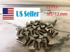 25 pcs 20 Series M5 12mm Hammer Head T Bolt Screw Nickel Plated Aluminum T-slot