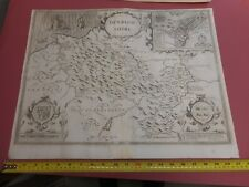 100% ORIGINAL LARGE DENBIGHSHIRE MAP BY JOHN SPEED C1646 VGC WALES