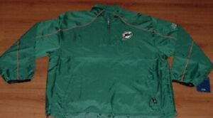 Miami Dolphins Jersey Pullover Hot Jacket XL 2XL On Field Embroidered Reebok NFL