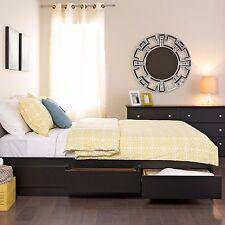 Platform Storage Bed Queen Size 6 Drawer Black Bedroom Furniture Modern Decor
